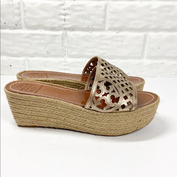 TORY BURCH Perforated Leather Espadrilles wedge